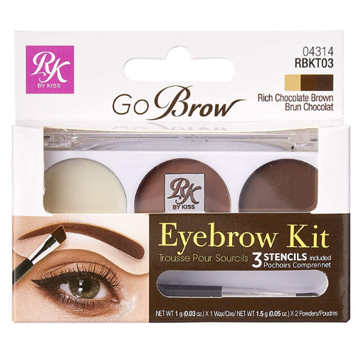 Ruby Kisses GoBrow Eyebrow Kit with Stencil (Chocolate Brown) - RBKT03 - By Kiss - Waba Hair and Beauty Supply