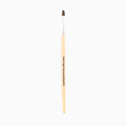 Gold Finger Flat Acrylic Brush #4 - GABR200 - by Kiss - Waba Hair and Beauty Supply