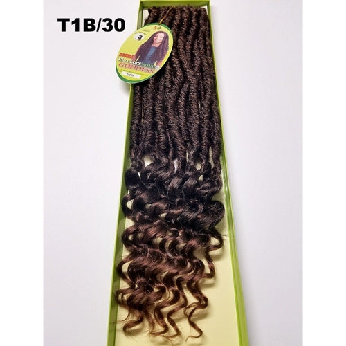 "20"" Bomba Faux Locs Soul Curly Tips Goddess Crochet Braid Hair By Bobbi Boss - Waba Hair and Beauty Supply"