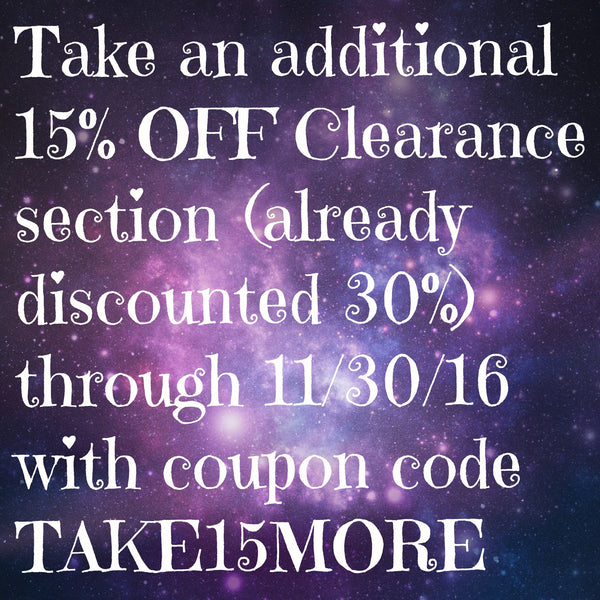 (OFFER ENDED) Take an additional 15% OFF already discounted CLEARANCE items!