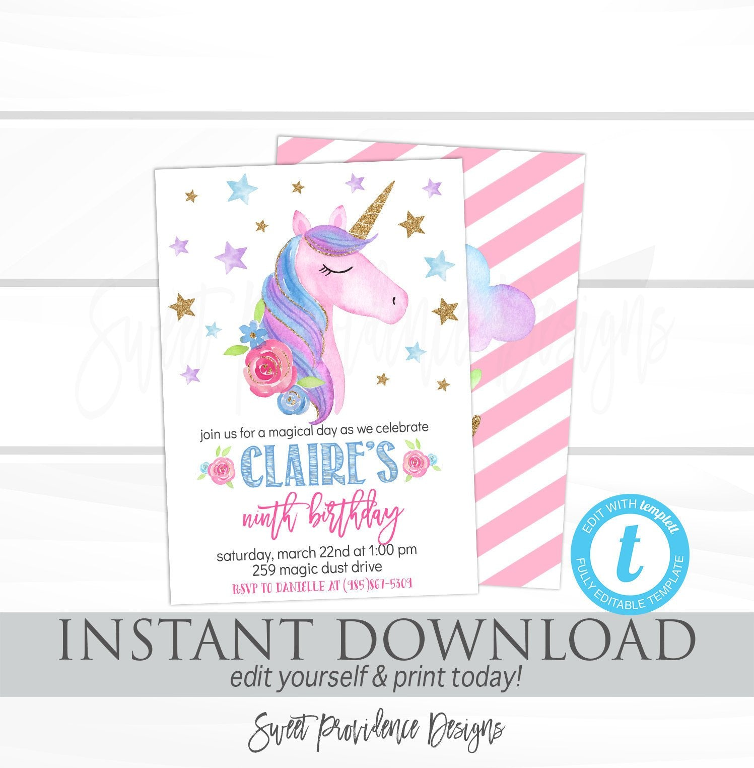 Unicorn Invitations, Unicorn Birthday Invitation, Editable Girl ...