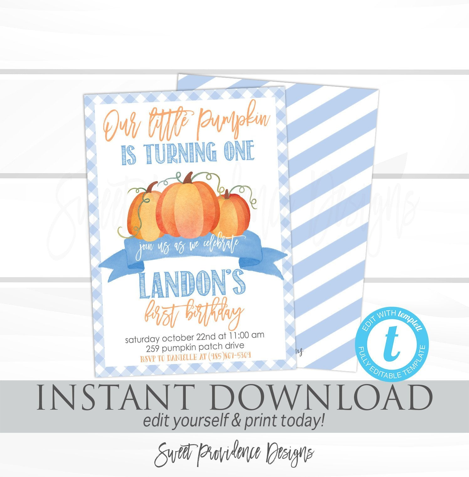 Our Little Pumpkin Invite, Pumpkin Birthday Invitation, Fall ...