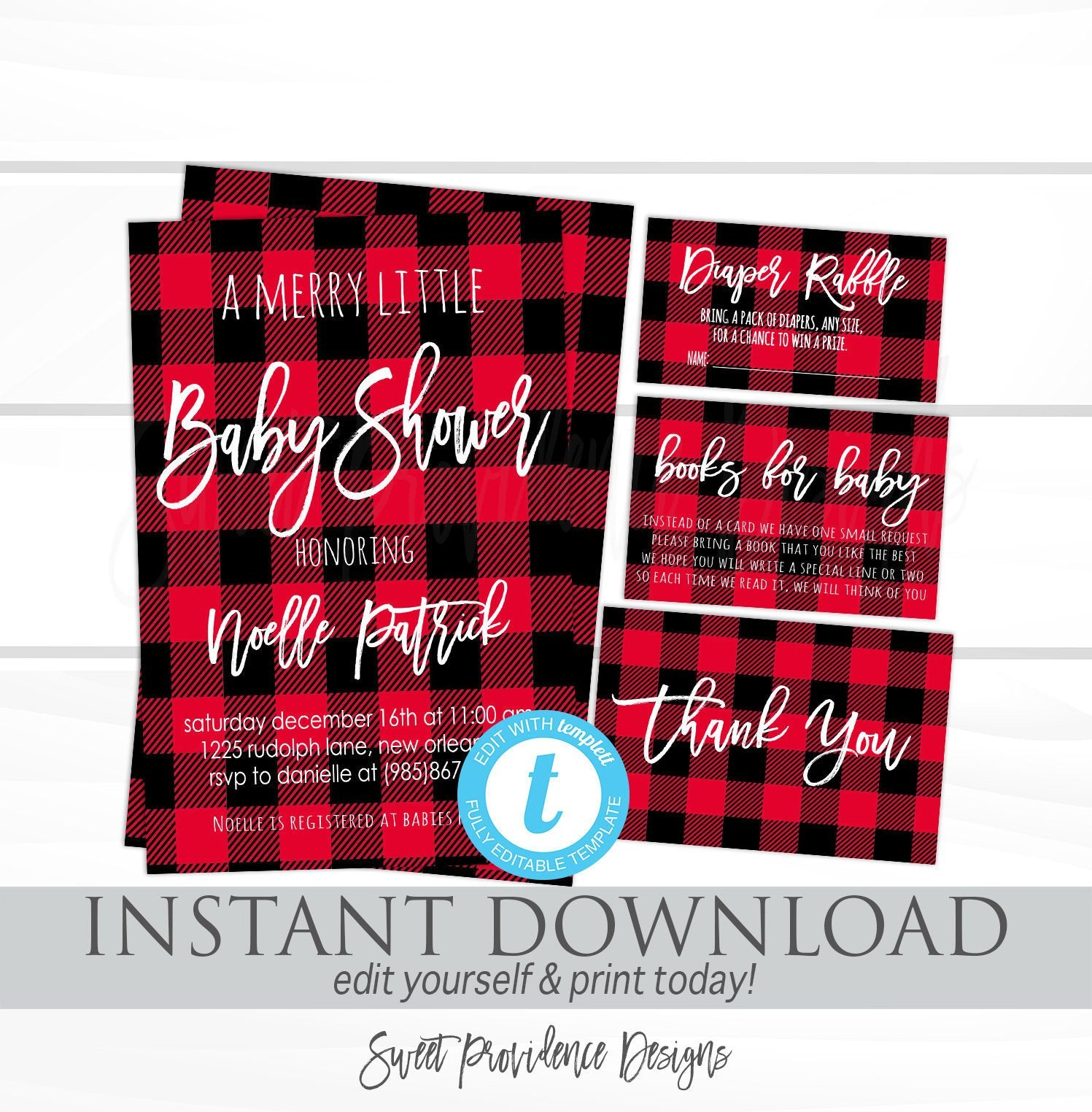 Buffalo Plaid Baby Shower Invitation Kit Editable Template Merry