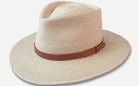 "3"" Brim Fine Palm Fedora with 5/8"" Brown Leather Band"