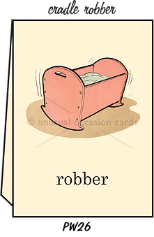 "Blank Greeting Card - ""Cradle Robber"""