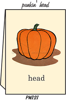 "Blank Greeting Card - ""Pumpkin Head"""
