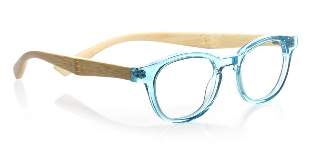 Bamboo Bitty (Style 864) Readers in Clear Turquoise Front with Bamboo Temples (16)