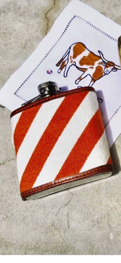 Burnt Orange and White Stripe Needlepoint Flask