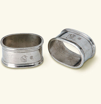 MATCH Pewter - Oval Napkin Rings, Pair.