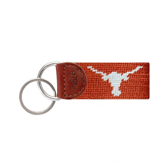 Texas (Burnt Orange) Needlepoint Key Fob