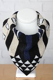 Black and Blue Beaded Scarf Necklace