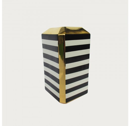 Black & Ivory Stripe Large Square Vase