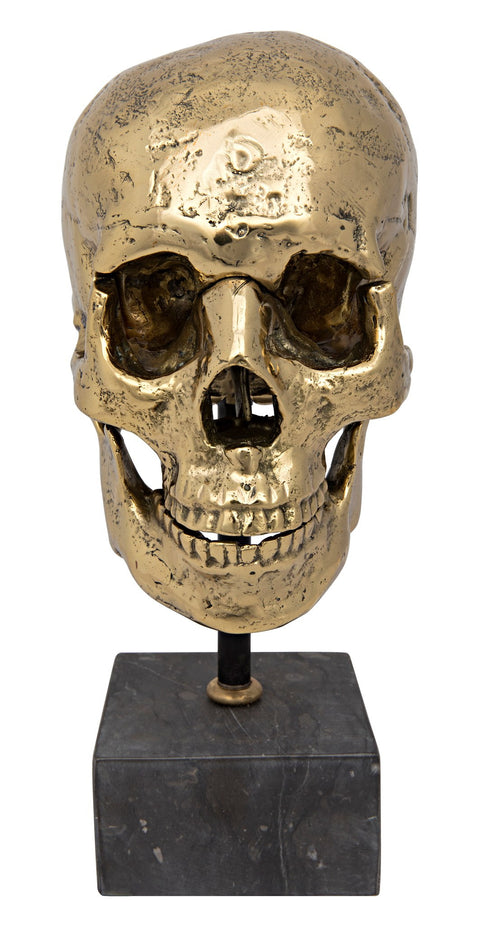 Skull on Stand in Brass