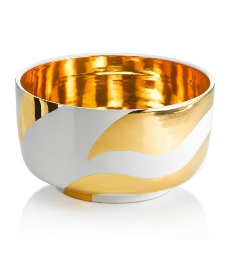 Gold and White Zebra Bowl