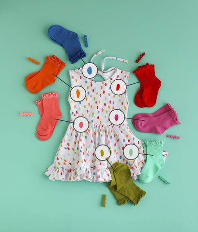 Rainbow dress with lace top sock options