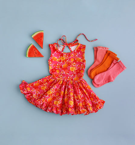 tropical summer party dress for toddlers and girls
