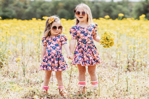 matching sister dresses in bright floral print