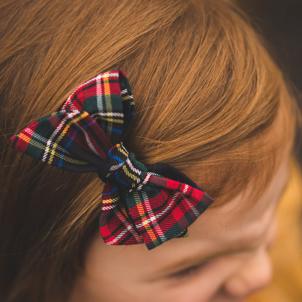 Red Plaid Hair Bow by Rolee Jo