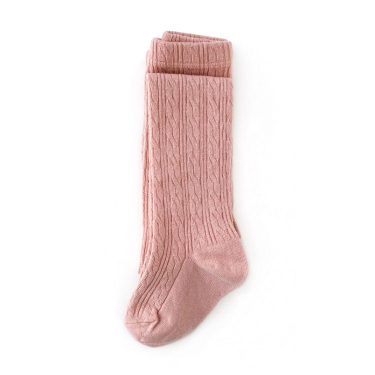 Blush pink cable knit tights for babies, toddlers and girls.