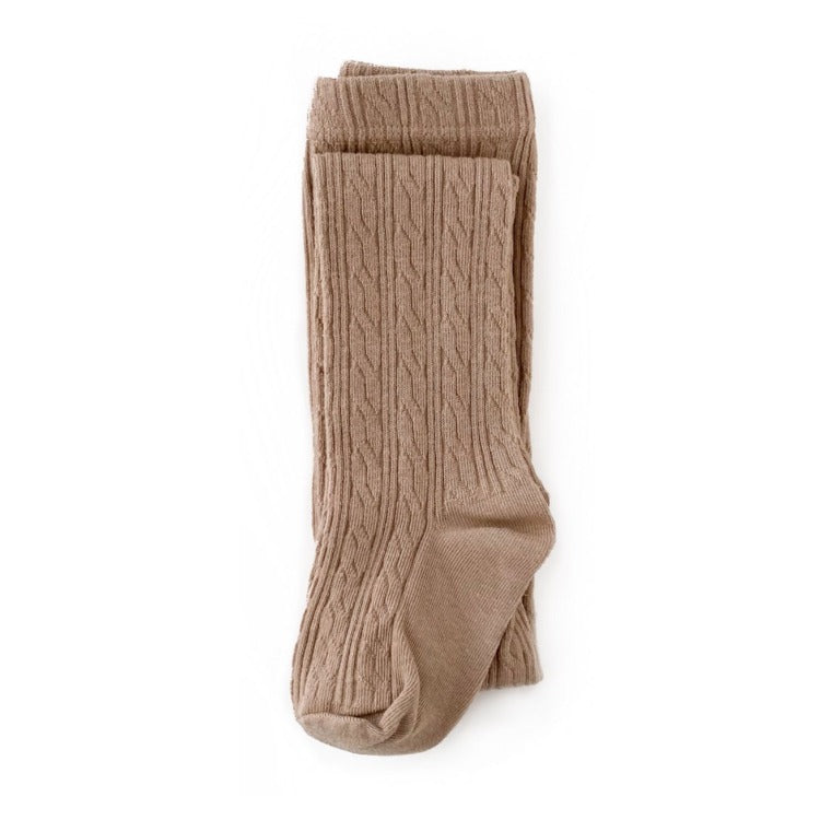 Oat Taupe cable knit tights for baby, toddler and girls