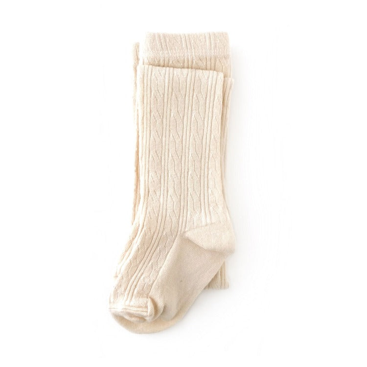 Cream ivory cable knit tights for girls