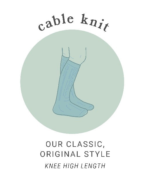 Babies, toddlers and girls vintage inspired cable knit knee highs