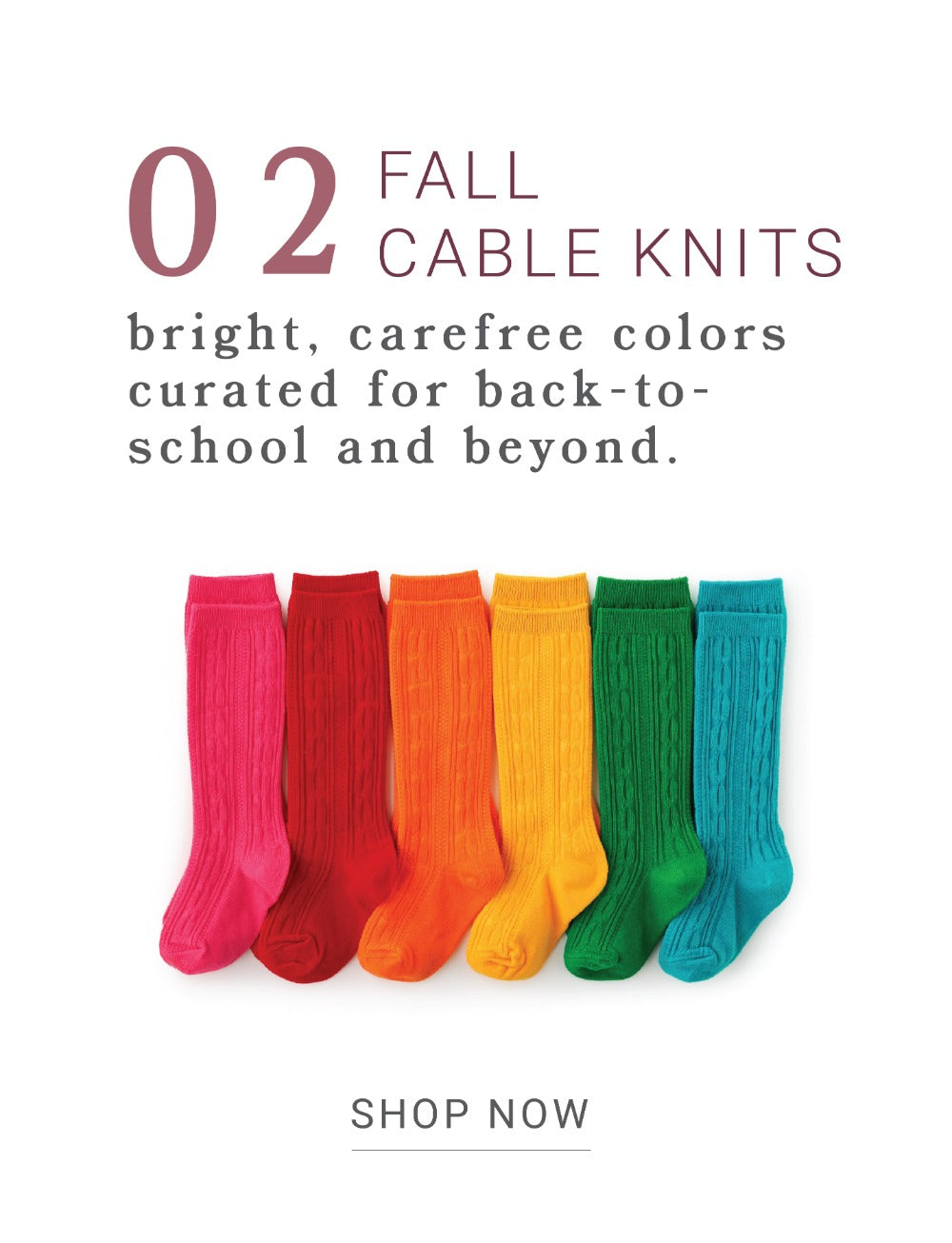 girls bright fall cable knit knee high socks