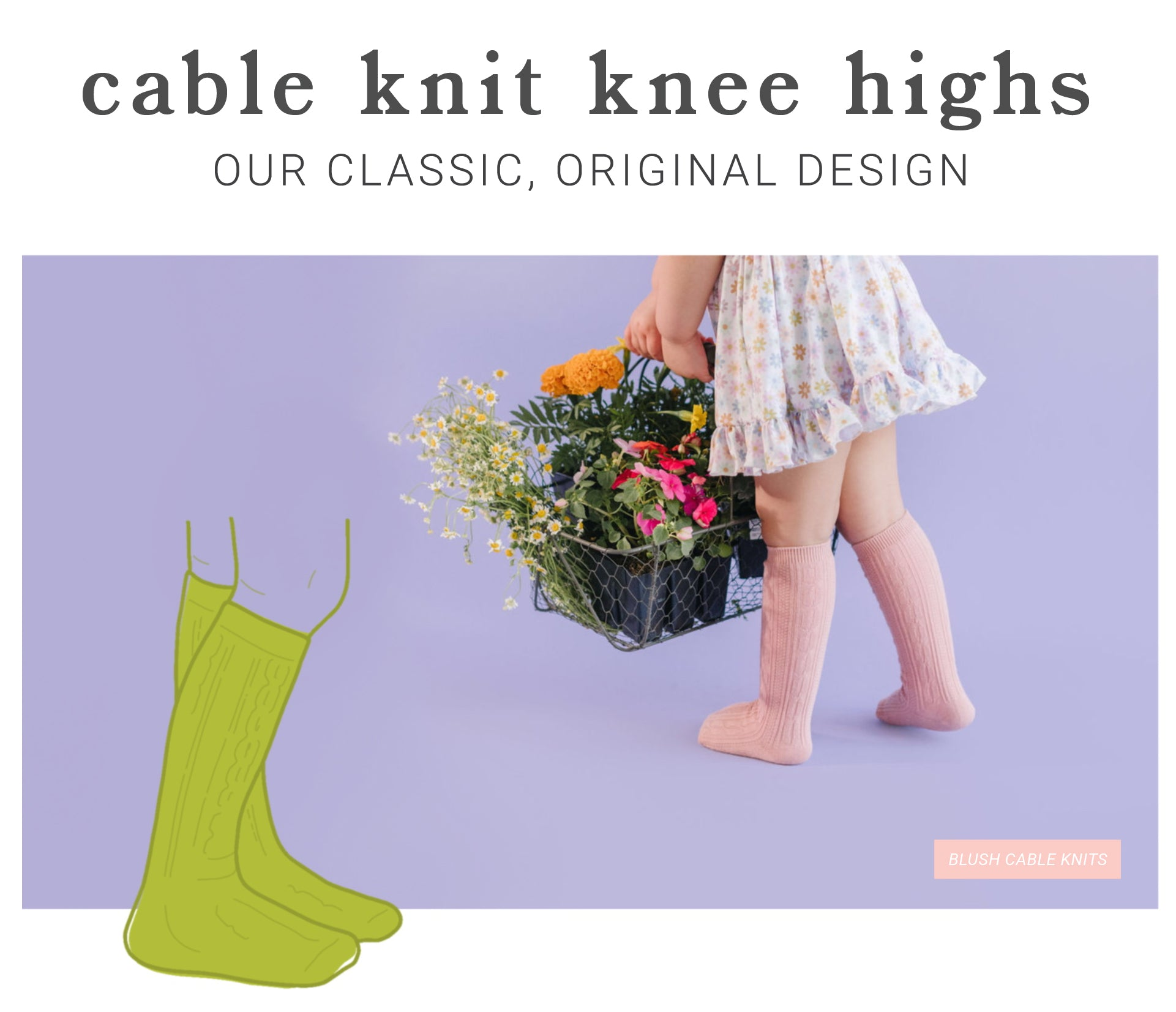 girls, babies, and toddlers cable knit socks
