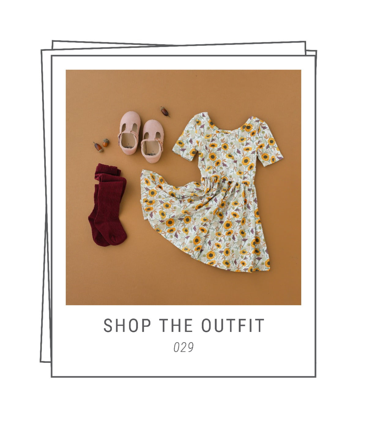 Baby fall outfit with dress and tights and t-strap shoes