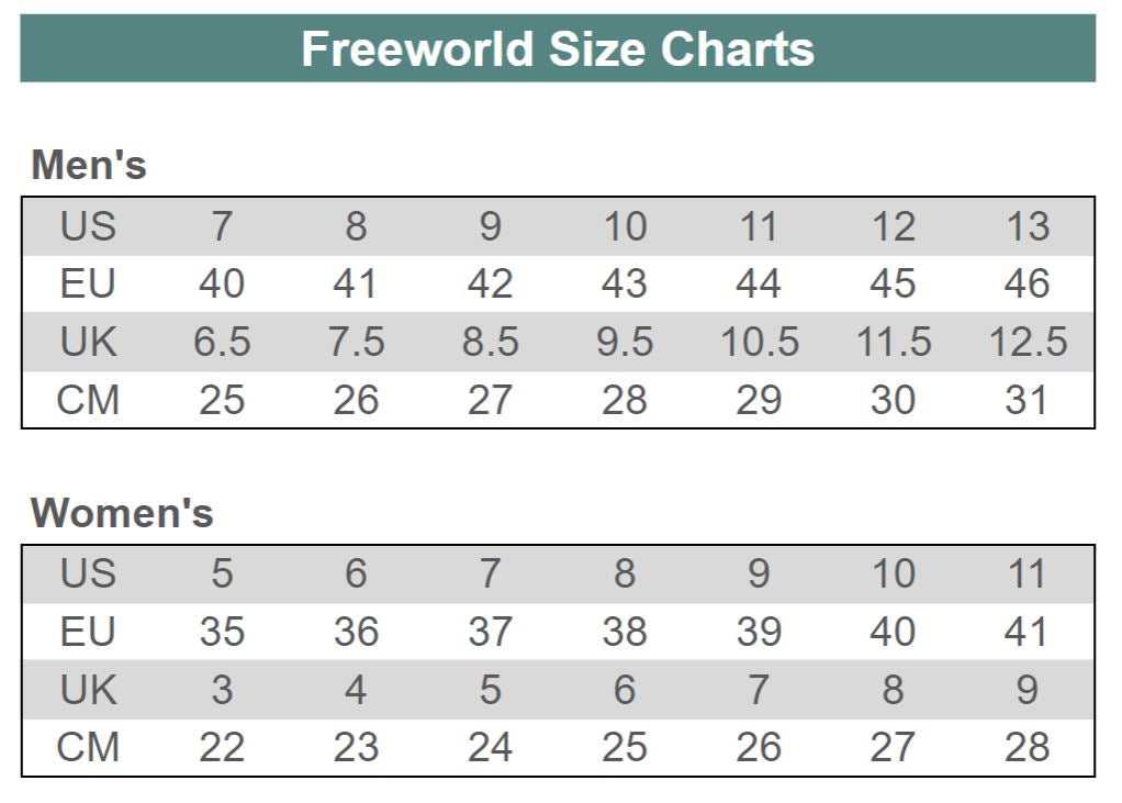 Freeworld Size Chart