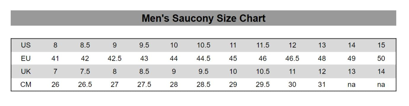Men's Saucony Size Chart | Shoes for Feets