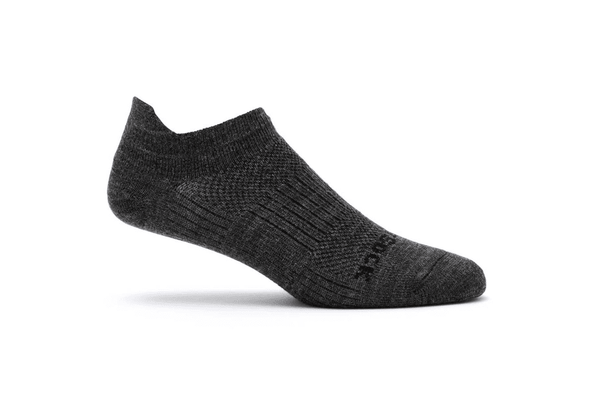 Wrightsock Merino Coolmesh II Tab Socks Socks Medium - W US 6.5 - 9 | M US 5 - 8| | EU 37 - 41.5 | UK 4 - 7.5 | 23.5 - 26CM / Grey/Black