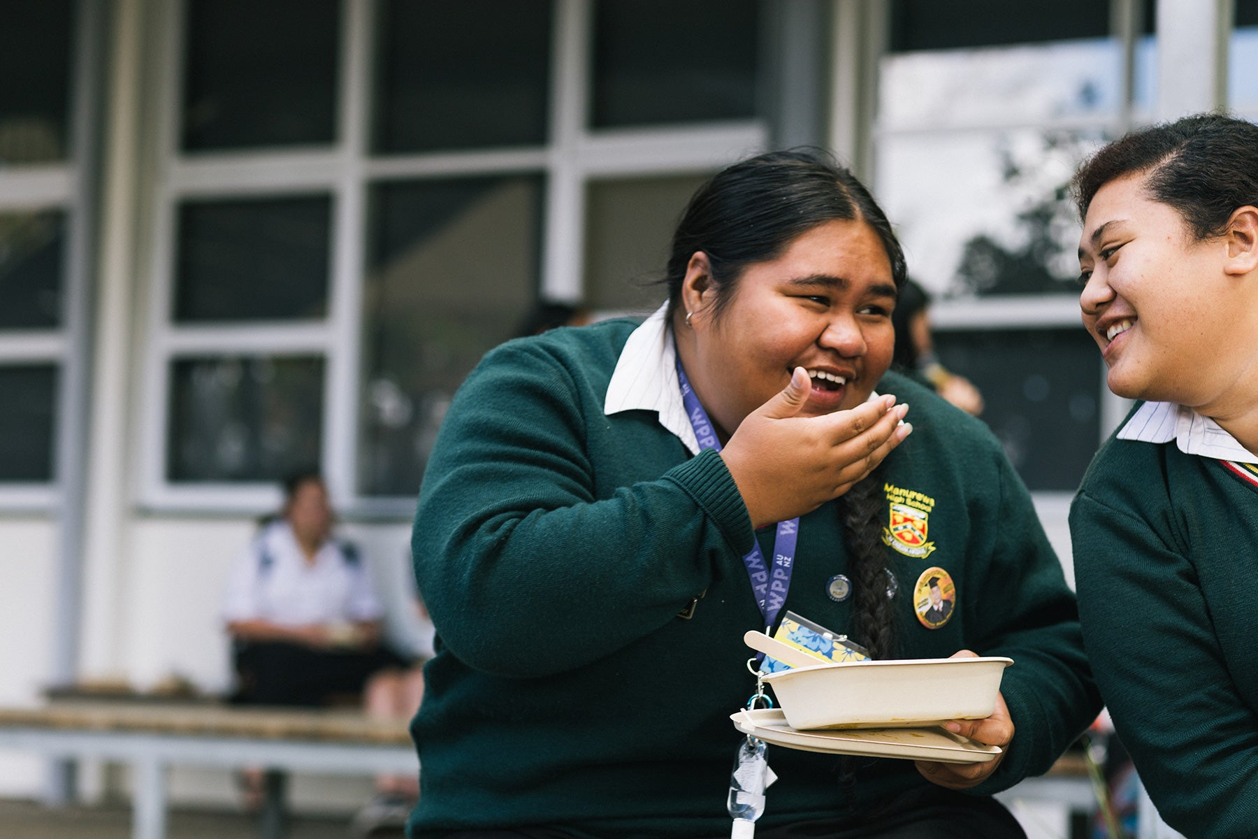 Manurewa High School Head Girl enjoying her lunch in Ecoware compostable packaging