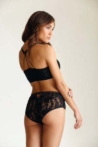 Pinking of You Bralette, Garter Belt and G-string