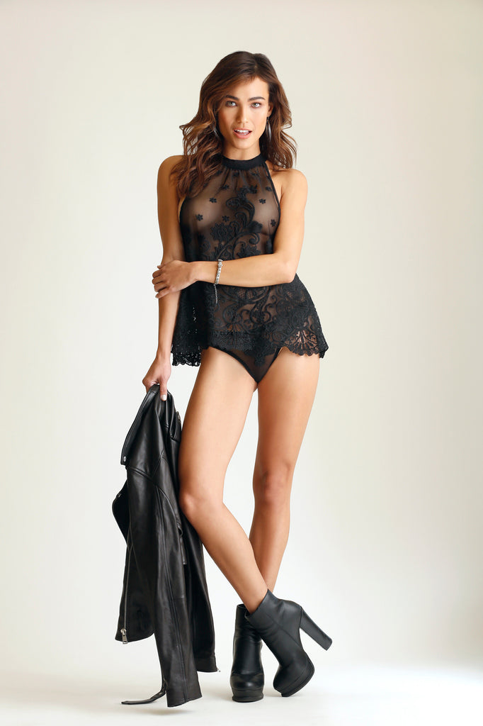 Ever After Embroidered Halter Babydoll