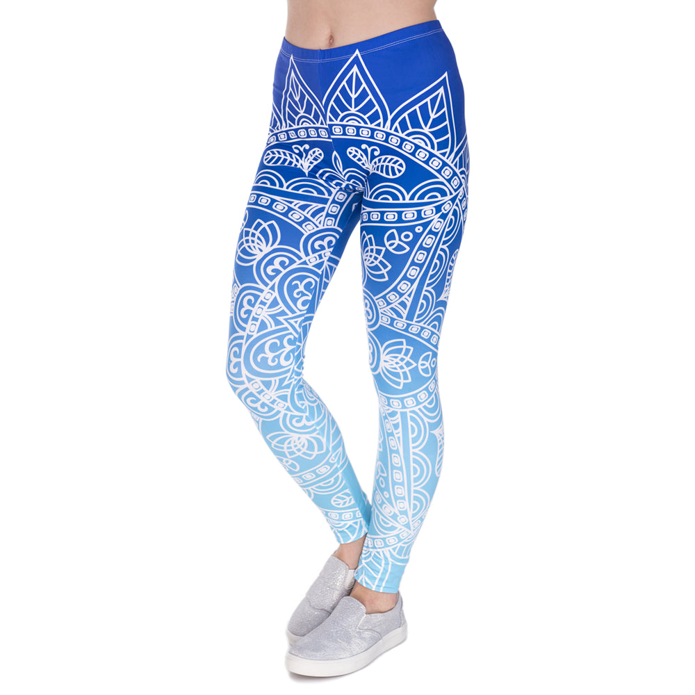 Blue Mandala Yoga Pants