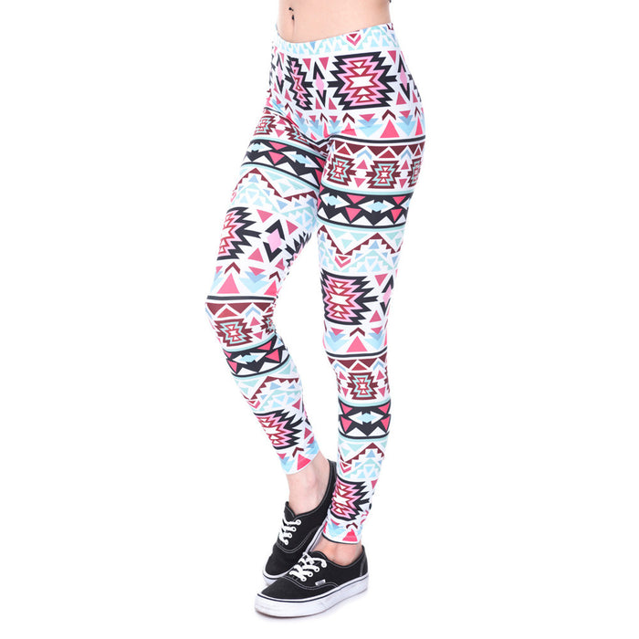 White Aztec Yoga Pants