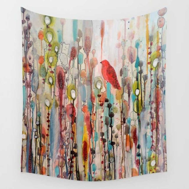 Watercolor Birdbath Tapestry