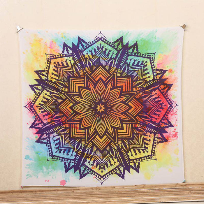 Watercolored Rainbow Mandala Tapestry