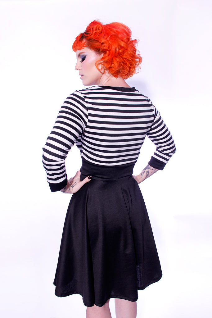 Stripe Gigi Dress with Full Skirt by Jessica Louise