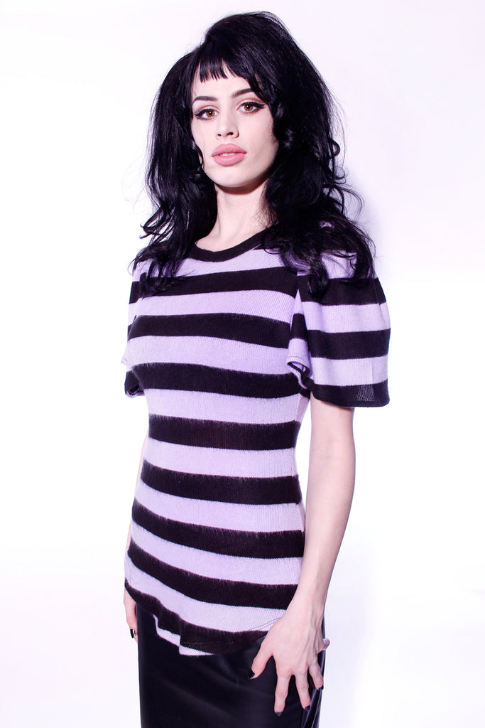 Flutter Sleeve Lavender Stripe Knit Top by Jessica Louise
