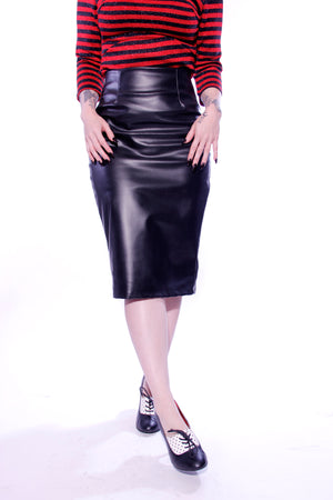 Warm Leatherette Pencil Skirt - shopjessicalouise.com
