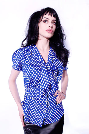 Polka Dot short sleeve  Bow blouse - shopjessicalouise.com