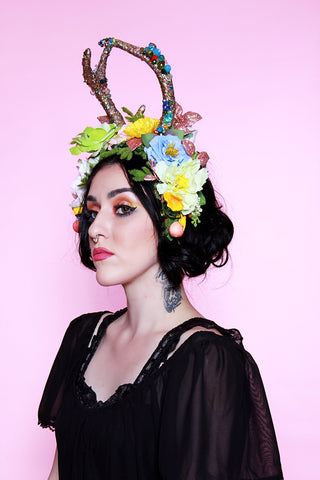 Evening Forest light Antler flower Crown