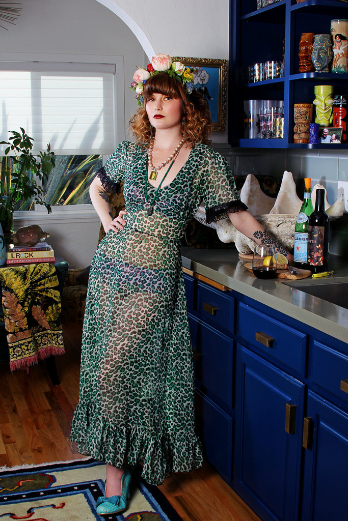 Jessica Louise Vali Maxi Dress In Green Leopard ONE OF A KIND PC