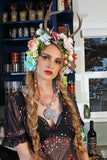 Jessica Louise hand cast resin vegan antler flower crowns with mixed vintage reproduction millinery. Made In Los Angeles