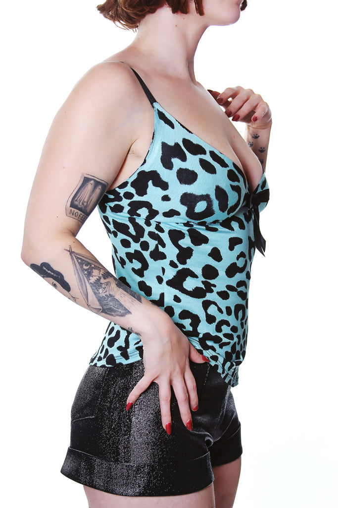 Blue Leopard Raquel Tank top with adjustable straps by Jessica Louise