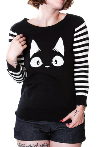 Meow Cat Sweater 3/4 Striped Sleeves