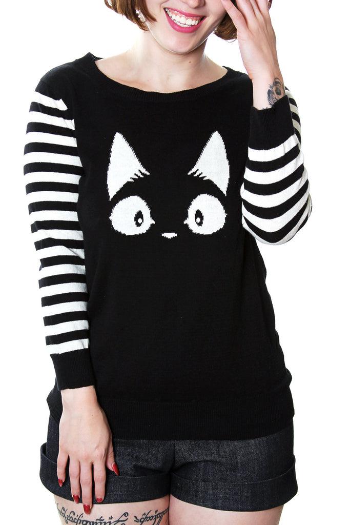 Cat sweater 3/4 striped sleeves