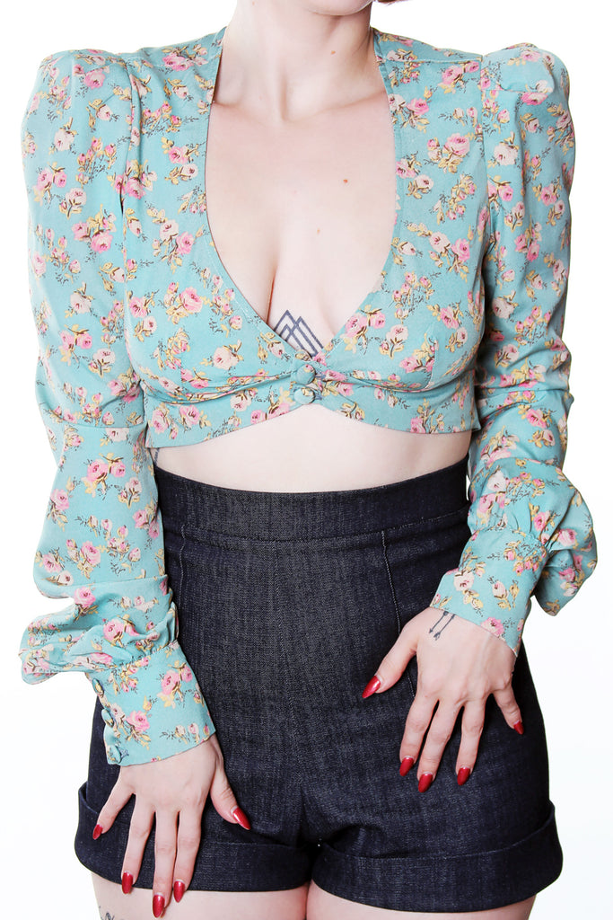 Marianne Vintage Roses Long Sleeve Cuffed Crop top by Jessica Louise